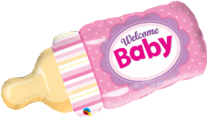 Pink 'Welcome Baby' Bottle Shape Foil Balloon